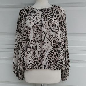 Jennifer Lopez Animal Print Baloon Sleeves Blouse